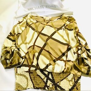 MICHAEL KORS BLOUSE WITH CHAINS & MK LOGO DESIGN